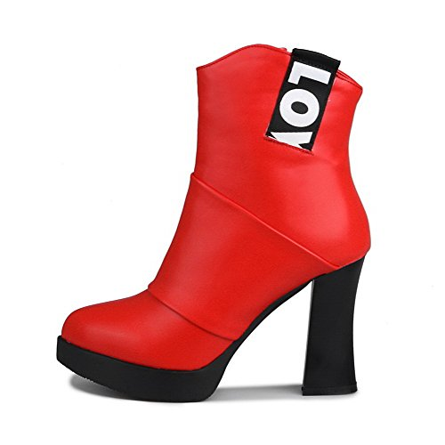 AllhqFashion Damen Niedrig-Spitze Rein Stiletto Blend-Materialien Spitz Zehe Stiefel, Rot, 36