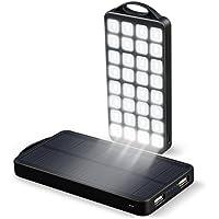 Cargador Solar 10000mAh EC Technology Batería Externa Powerbank, 2 Puertos USB, 32 LED Linterna, Impermeable pueba de Polvo Resistente Golpes Acampadas y Actividades al Aire Libre, Negro
