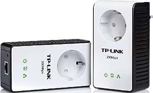 TP-Link PA251KIT AV200+ Powerline-Netzwerkadapter (bis zu 200Mbps Datenübertragungsrate, integrierte Steckdose) schwarz/weiß
