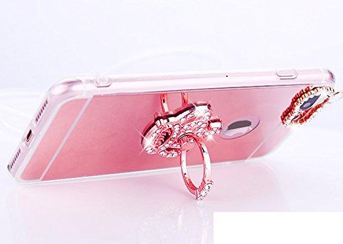 Coque iPhone 7 Plus, Étui iPhone 7 Plus, ikasus® Coque iPhone 7 Plus Silicone Étui Housse Téléphone Couverture Miroir TPU avec [Diamant Ring Stand Support] Bowknot papillon couronne Modèle brillant Bl Couronne d'argent