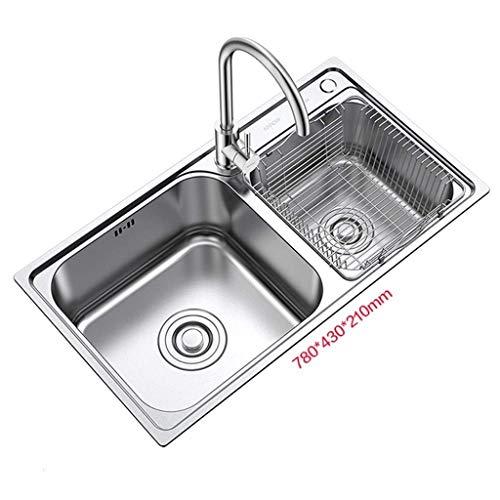 ADWN Edelstahl Double Groove Bowl Kitchen Sink Großer Raum mit Wasserhahn Waschbecken -