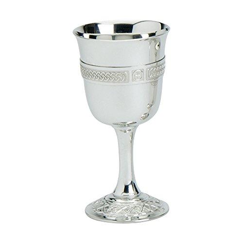 Edwin Flasque & Co Traditionnel en Forme de Calice en Verre avec Motif Celtique Fil sur Une Tige Uni et orné Celtique Base, 15,2 cm, en étain