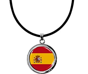 """Pendentif exeptionnel """"drapeau Espagne"""" avec un collier en silicone noire"""