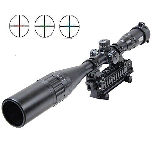 UUQ 6-24X50 AOL Jagdgewehr Zielfernohr W/Front AO Einstellung, Rot/Blau/Grün Mil-Dot Absehen, Schwerlast Ringschraube & hochklappbare Zielfernohr-Decke & verlängerte Sonnenblende