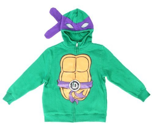 Teenage Mutant Ninja Turtles Donatello Boys Kostüm Zip Up Hoodie Sweatshirt (Boys 10/12) (Ninja Turtle Kostüm Für Mädchen)