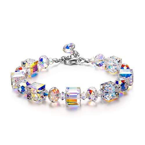 Susan Y Geschenk für Frauen Weihnachten Damen Glieder Armband mit Aurore Boreale Kristalle von Swarovski Schmuck Geschenke zum Mutter Sie Frauen Mädchen Valentinstag Muttertag Geburtstag