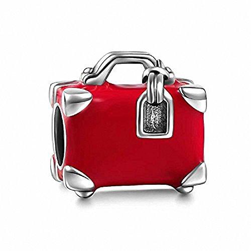 Rosso da Viaggio Borsa da viaggio autentico argento Sterling 925Charm Valigia per braccialetto stile europeo compatibile