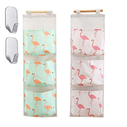 CozofLuv 2 STK (21 * 59cm) Hängender Organizer, Hängende Tasche mit 3 Taschen, Hängeaufbewahrung für Kinderzimmer, Badezimmer, Schlafzimmer, Büro (Flamingo)