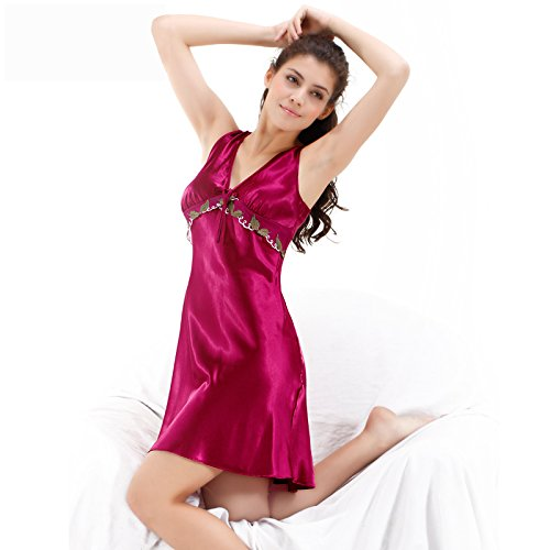 hoom-la-chemise-de-sexy-seidenpyjama-kurze-plus-size-bestickte-kleidung-170-xl-rot