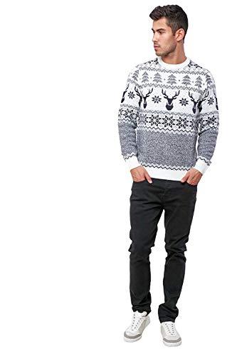 Threadbare Erwachsene Neuheit Bad Parkplatz Santa Festliche Weihnachten Pullover - Rentier Fairisle - Creme, Größe - Groß - 42-44