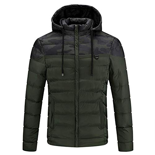 JYJM Herren Kapuzenjacke Schwarz Herren Strickjacket MIT Kapuzen Windbreaker Winter Daunenjacke Reißverschluss Winterjacke Freizeit Herrenmantel Packwork Pocket Rollkragen Camouflage Top Coat Pocket Windbreaker