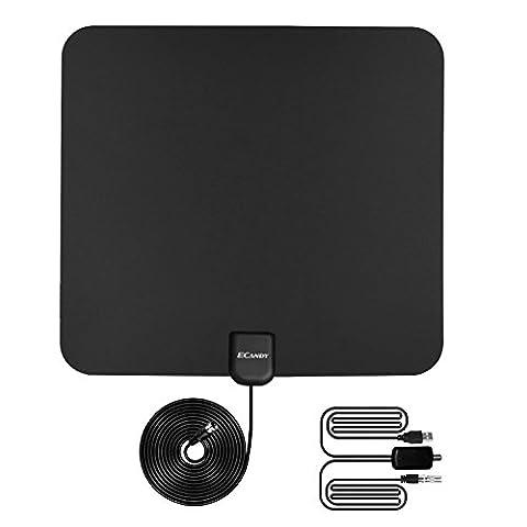 Ecandy TV Antenne Indoor HDTV DVB-T Digital Antenne 50 Meilen Reichweite mit Verstärker Signal Booster für UHF VHF, USB Power - 13ft / 4m Koaxialkabel