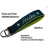 Schlüsselanhänger Schlüsselband aus Wollfilz mit Stickerei von individuellem Text Name Spruch personalisiertes Geschenk