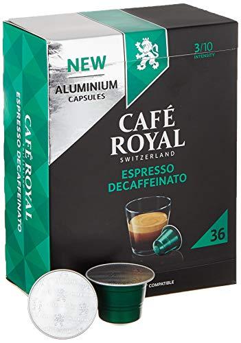 Café Royal 36 Espresso Decaffeinato Nespresso (R)* kompatible Kapseln aus Aluminium - Intensität 3/10 - Großpackung 36 Kaffeekapseln - UTZ-zertifiziert - Kompatibel mit Nespresso (R)* Kaffeemaschinen