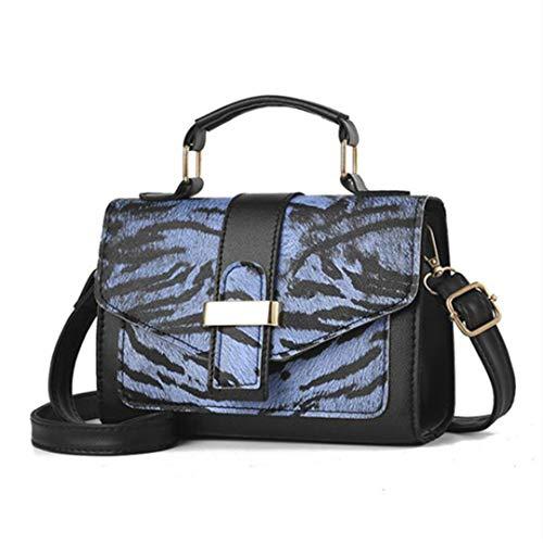 Mode Frauen Handtasche umhängetasche Leopardenmuster pu Leder umhängetaschen Blue 20X14X7.5Cm -