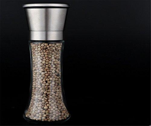 GXSCE Manuelle Kaffeemühle, kleine Kaffeemühle, Edelstahl Kaffeemühle, Espresso Kaffeebohne Grinder, einstellbare Salz Pfeffermühle Grinds Bohnen Gewürze gebürstet