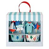 6x Meri Meri Baby-Shop Blau Kuchensatz 24 Pro Packung