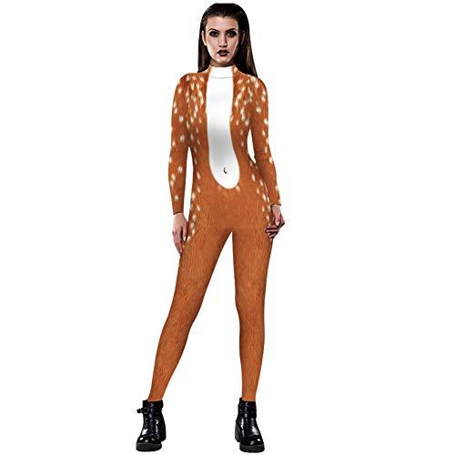 Kostüm Anzug Nackten Körper - WSJ Halloween Kostüme für Damen, Damen Leopard 3D Digital Print Eng anliegender Langarm Kostüm Body mit Rückendruck - Sexy Kostüm Overall weiblich,XL