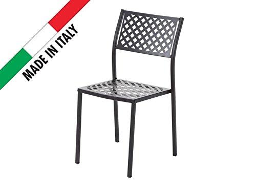 RD ITALIA Stuhl stapelbar Design Modernes Dekor Raute aus Metall Eisen-Outdoor Garten Terrasse Patio Bar Restaurant -