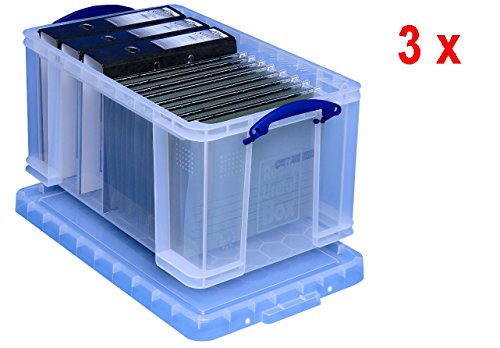 3 x REALLY USEFUL BOX 48 Liter - 600 x 400 x 315 mm - transparent (Ecke Toy Box)