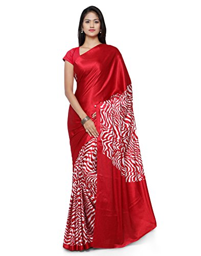 Applecreation Crepe Saree With Blouse Piece (JPQ5774B_Red_Free Size)