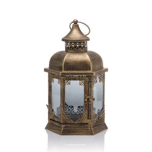 Laterne im Nostalgie look mit LED-Lichterkette und Timer - Outdoor geeignet, aus Metall (Gold Vintage) - Laterne Led-vintage