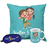 Printelligent Raksha Bandhan Gifts For Sister & Brother. Rakhi Themed Combo Of Cushion Cover With Filler Ceramic Coffee Mug & Eye Mask Set Gift