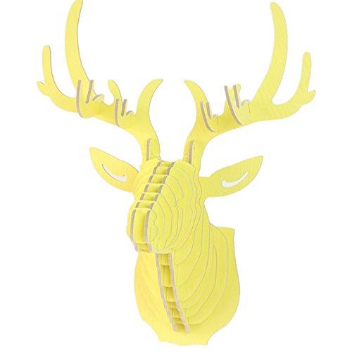 Moolecole DIY 3D de Madera de Colores de Los Ciervos Cabeza de Decoración de Animales de la Asamblea de Puzzle Pared de Colgantes Decoración Kit de Modelos Decoración Para el Hogar de Juguete Limon Amarillo