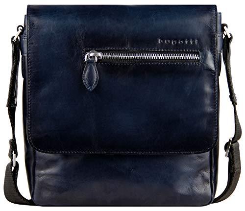 Bugatti Domus Kleine Leder Umhängetasche für Damen und Herren, Schultertasche Messenger Bag Kuriertasche, Dunkelblau -