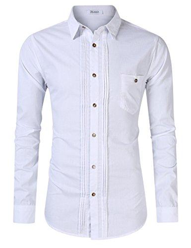 KOJOOIN Trachten Shirt Bianco Camisa Casual a Cuadros de Hombre Camisa de  Manga Larga de Estilo 3b115a401d9