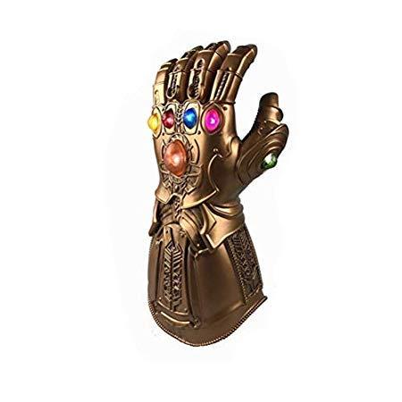Yaoguan Avengers Infinity War Thanos Infinity Guantelete de PVC con luz LED para Accesorios de Halloween