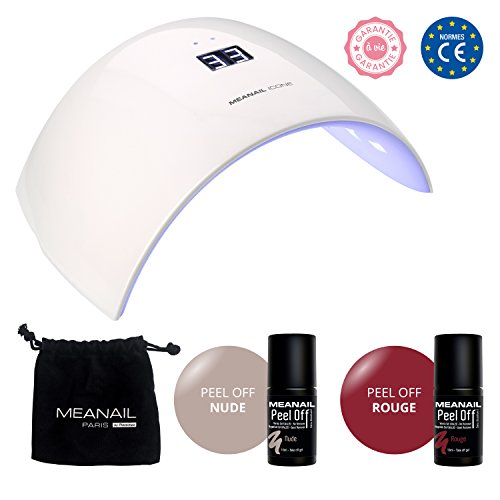 KIT MANUCURE SEMI-PERMANENTE VERNIS PEEL OFF by MEANAIL PARIS  Lampe LED/UV  Révolution : ADIEU Base, Top Coat, Remover !  Manucure Semi-Permanente  3 en 1, se retire comme un sticker, sans dissolvant pour vernis semi-permanent  1 Lampe UV/LED Icone GARANTIE A VIE + 2 vernis Peel Off  Vegan & Cruelty Free