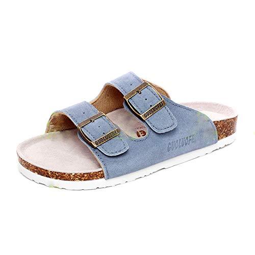 Herren Damen Hausschuhe Flache Pantoletten Kork Sandalen Pantoffeln Leder Zehentrenner Schuhe Regulierbar
