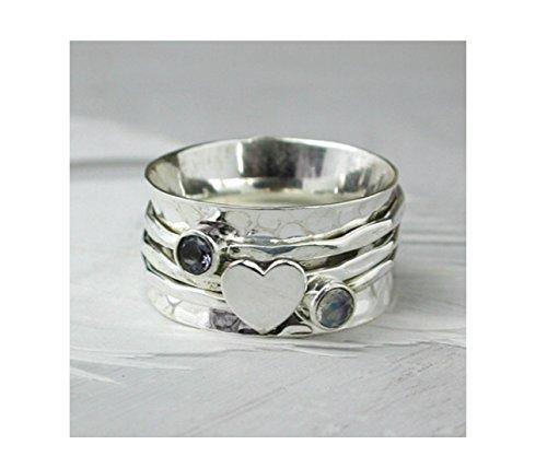 925-solid-sterling-silver-spinning-ringmoonstone-lolite-heart-thumb-finger-worry-spinner-ring-r