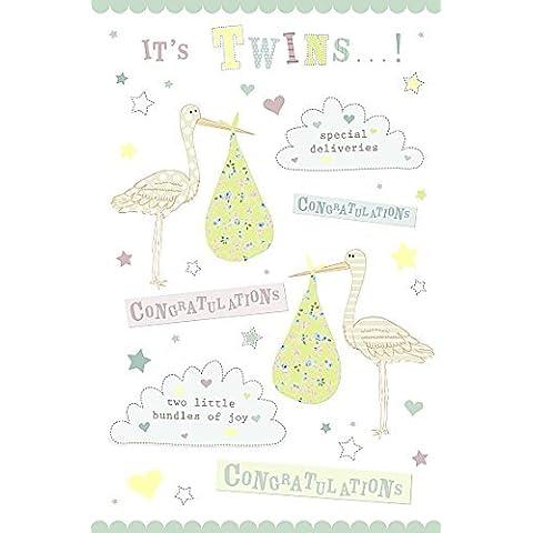 Wishing Well Studios biglietto d' auguri–Gemelli nascita–Congratulazioni