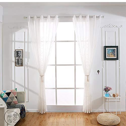 Voile tenda a mano ricamata occhielli tende fatte a mano tende a strisce tulle per camera da letto soggiorno balcone, white, 300 * 270cm