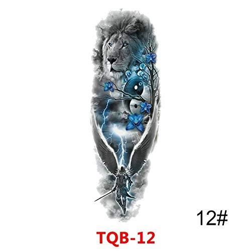 lihaohao Temporäre Tattoo-Aufkleber Wasserdicht Temporäre Tätowierung Aufkleber Voller Arm Großer Schädel Old School Tattoo Aufkleber Flash Fake Tattoos Für Männer Frauen 48X17 cm 4 Stück
