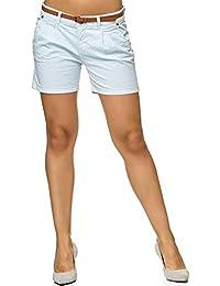 Sublevel Damen D6053Z61713KBS Chino-Shorts Kurze Hose inkl. Gürtel aus  Hochwertiger Baumwolle 6aaa74c00c