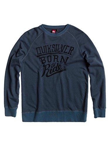Herren Sweater Quiksilver Crew Neck R Born to Ride Sweater Carbon Blue