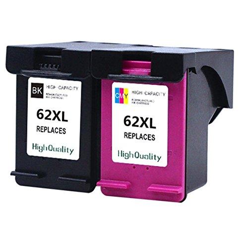 Karl Aiken 2x Compatible remanufacturée HP 62 X L Haute Capacité Cartouches d'encre utilisée en HP Envy 5640 5540 7640 5546 5646 5542 imprimante HP Officejet 5740 5742 200