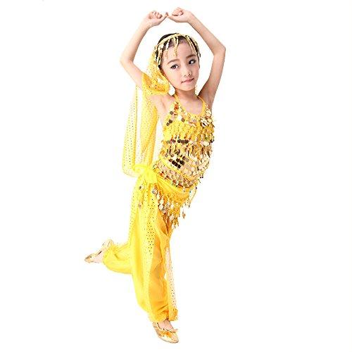 Fille-Dguisement-Princesse-Ensemble-Sarouel-Enfant-Paillettes-Danse-du-Ventre-Top-Pantalons