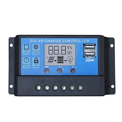 ECO-WORTHY 20A 12V-24V Intelligent Solar Charge Regulator Controller USB Port Display Charge Controller Regulator