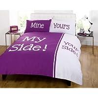 My Side [il mio lato] Copripiumino doppio e due federe, Set di lenzuola per letto matrimoniale, colore: viola