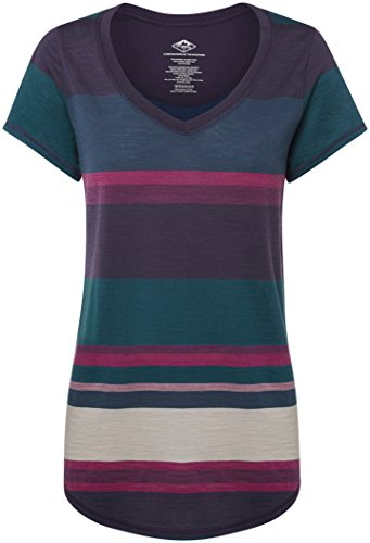 Mountain Designs Damen Sarah Merino V-Neck Tee, damen, Magenta Stripe (Stripe Mountain T-shirt)