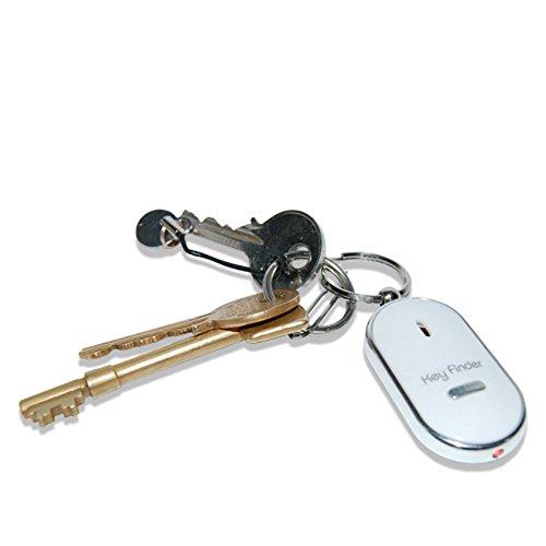 Hochwertiger Schlüsselfinder mit LED -- Reagiert auf Ihr Pfeifen mit einem akustischen Signalton, mit Schlüsselring *Weiß*
