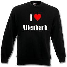 """Sweat Shirt Sweater Pull """"I Love Allenbach"""" pour les femmes et les enfants ... dans les couleurs noir et blanc et bleu avec surcharge"""