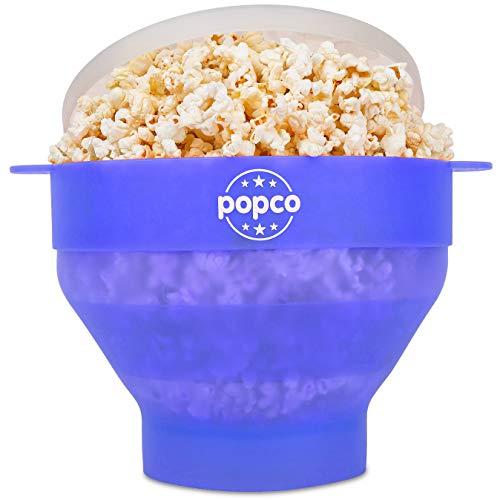 Popco Popcorn-Popper aus Silikon für die Mikrowelle mit Griffen, Popcorn-Maker aus Silikon, faltbar, BPA-frei und spülmaschinenfest Transparent Glacier Blue