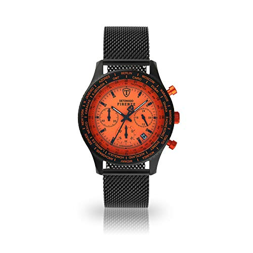 DETOMASO Firenze Herren-Armbanduhr Chronograph Analog Quarz schwarzes Milanaise Armband Oranges Zifferblatt SL1624C-OR-847