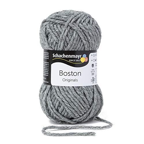 Schachenmayr Boston 9807412-00092 mittelgrau meliert Handstrickgarn - Alpaka-wolle Stricken Pullover