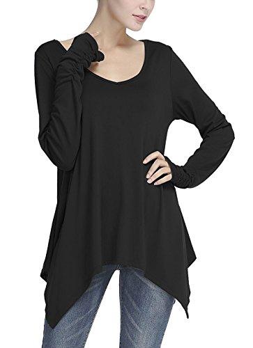 Donna Maglietta Eleganti Maniche Lunghe V Scollo Blusa Unico Irregolare A Pieghe Casual Autunno Primavera Top Lungo Puro Colore Sciolto Nuovo Ragazze Camicia Tshirt Nero